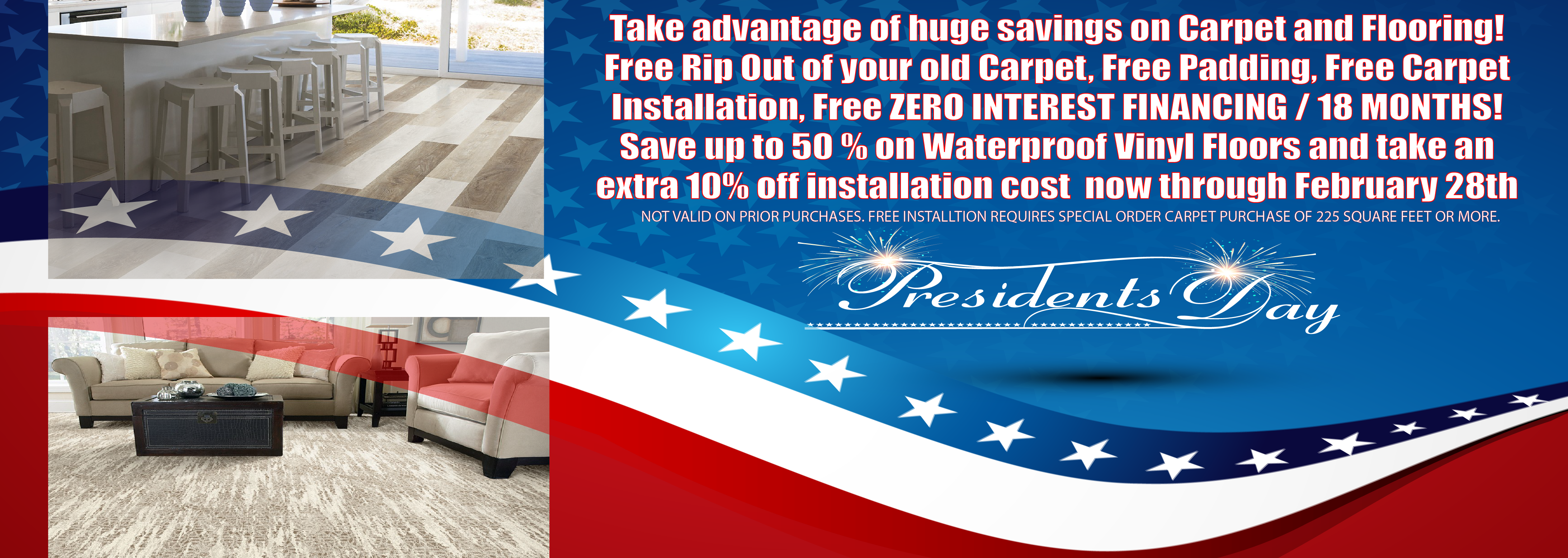 presidents day carpet sale, presidents day flooring sale. free carpet estimates, free flooring estimates